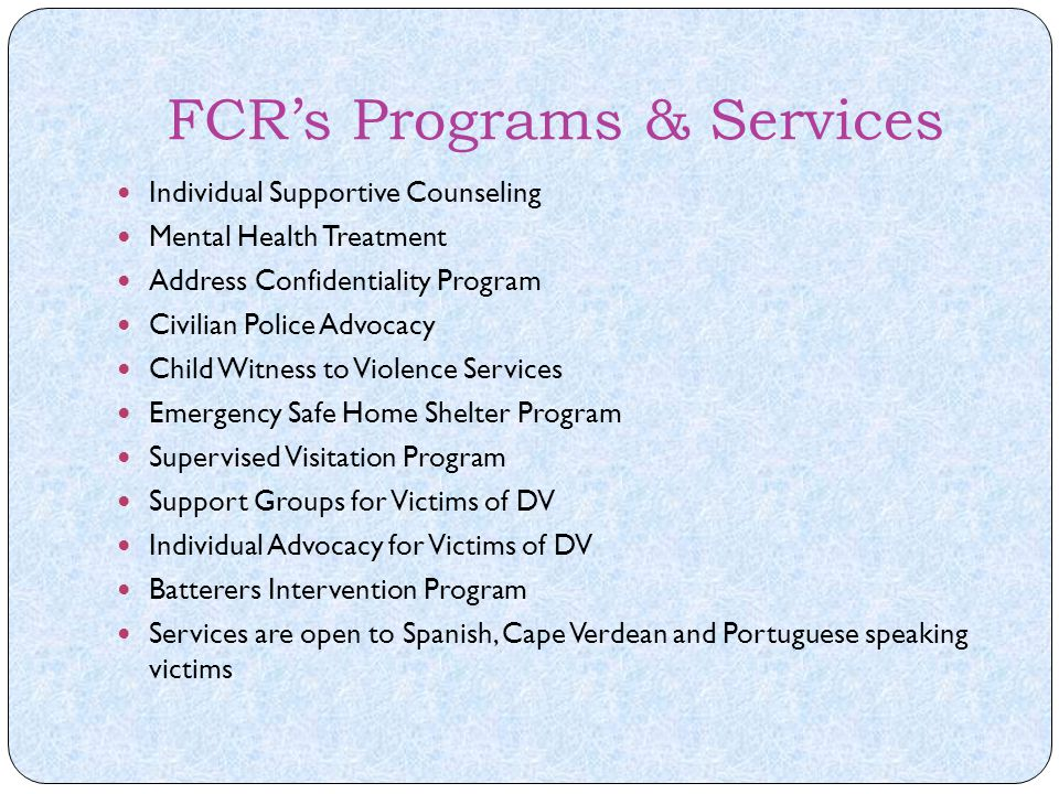 FCR's Programs & Services