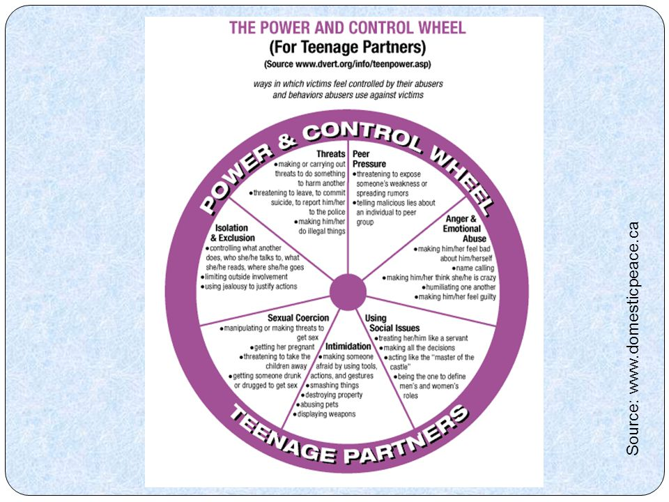 Teen Dating Power & Control Wheel