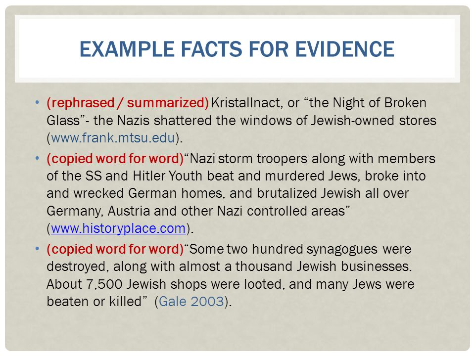 Example Facts for Evidence