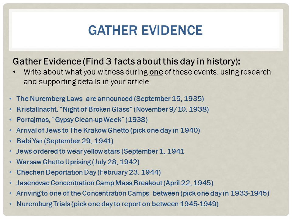 Gather Evidence Gather Evidence (Find 3 facts about this day in history):