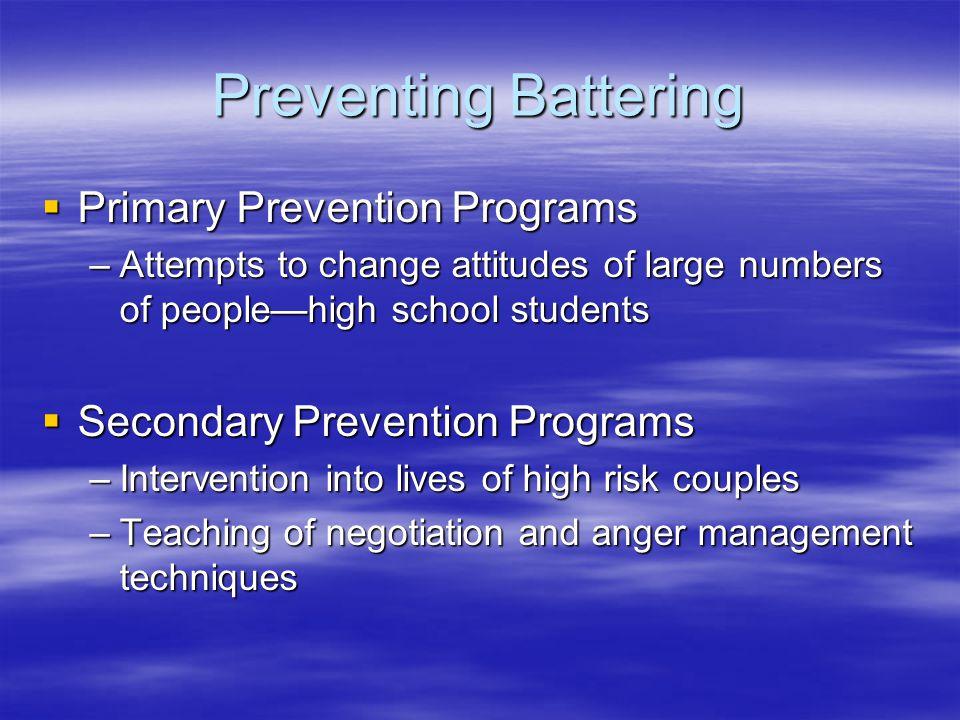 Preventing Battering Primary Prevention Programs