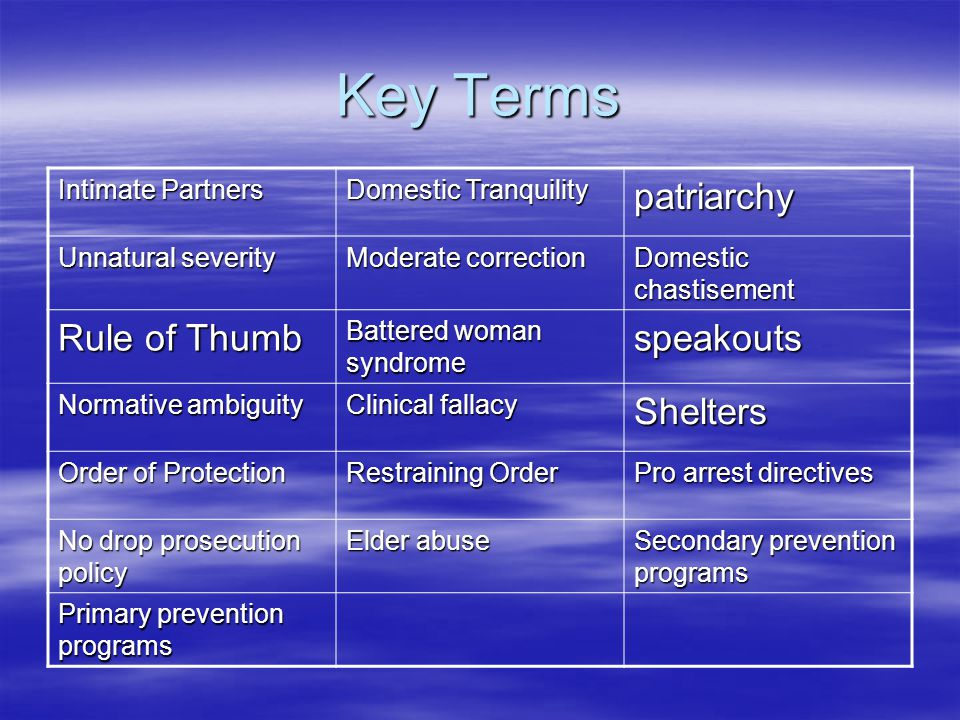 Key Terms patriarchy Rule of Thumb speakouts Shelters