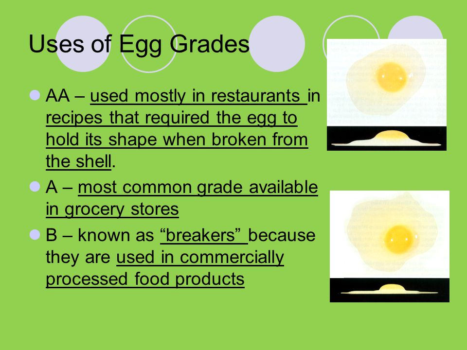 Uses of Egg Grades AA – used mostly in restaurants in recipes that required the egg to hold its shape when broken from the shell.