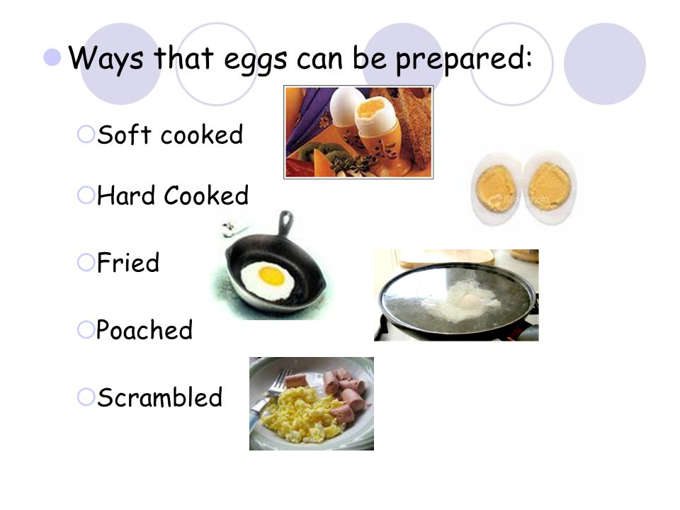 Ways that eggs can be prepared: