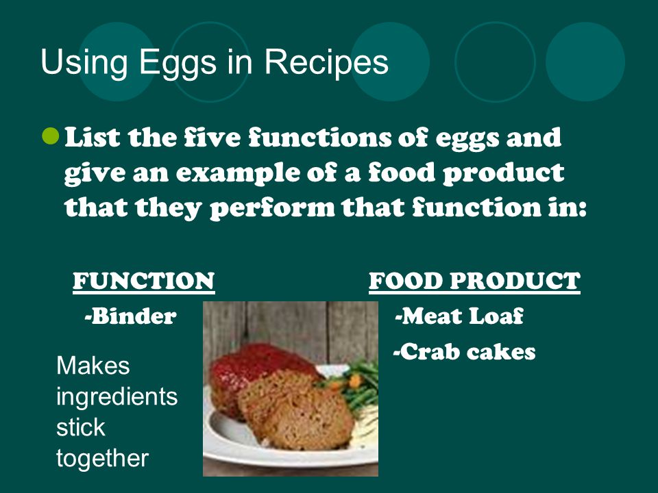 Using Eggs in Recipes List the five functions of eggs and give an example of a food product that they perform that function in: