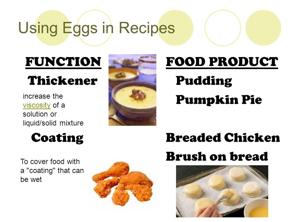 Using Eggs in Recipes FUNCTION FOOD PRODUCT Thickener Pudding