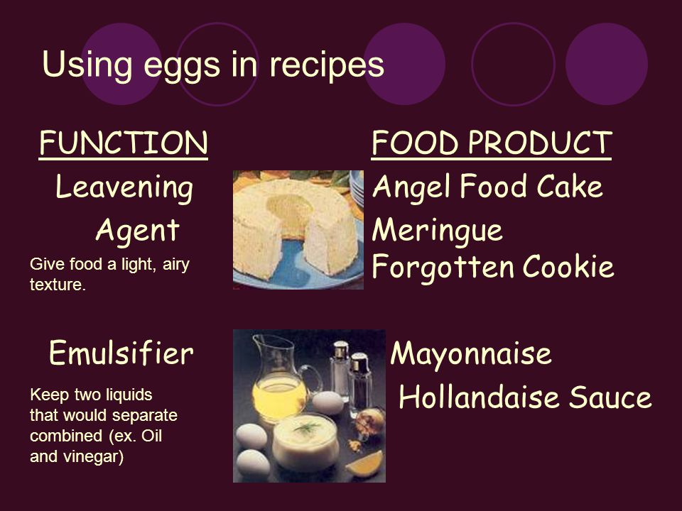 Using eggs in recipes FUNCTION FOOD PRODUCT Leavening Angel Food Cake