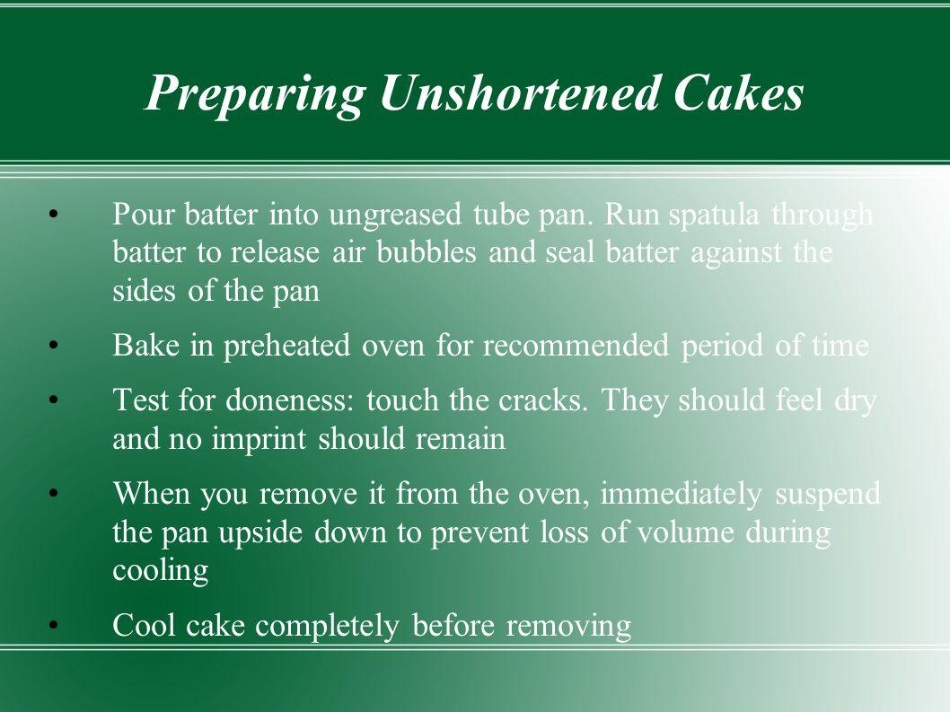 Preparing Unshortened Cakes