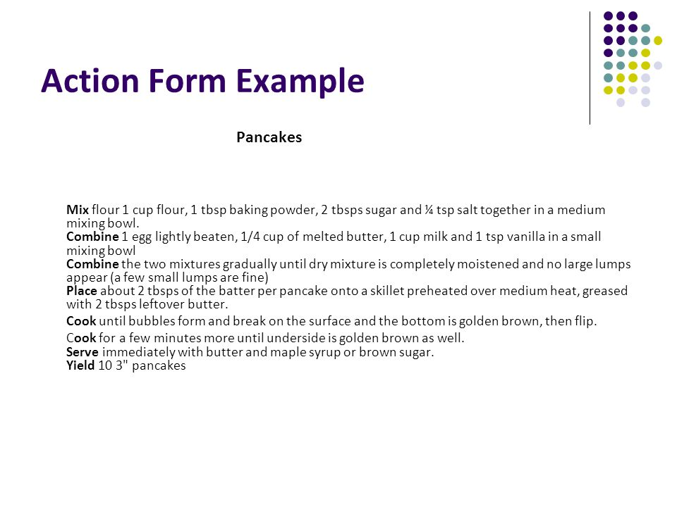 Action Form Example Pancakes