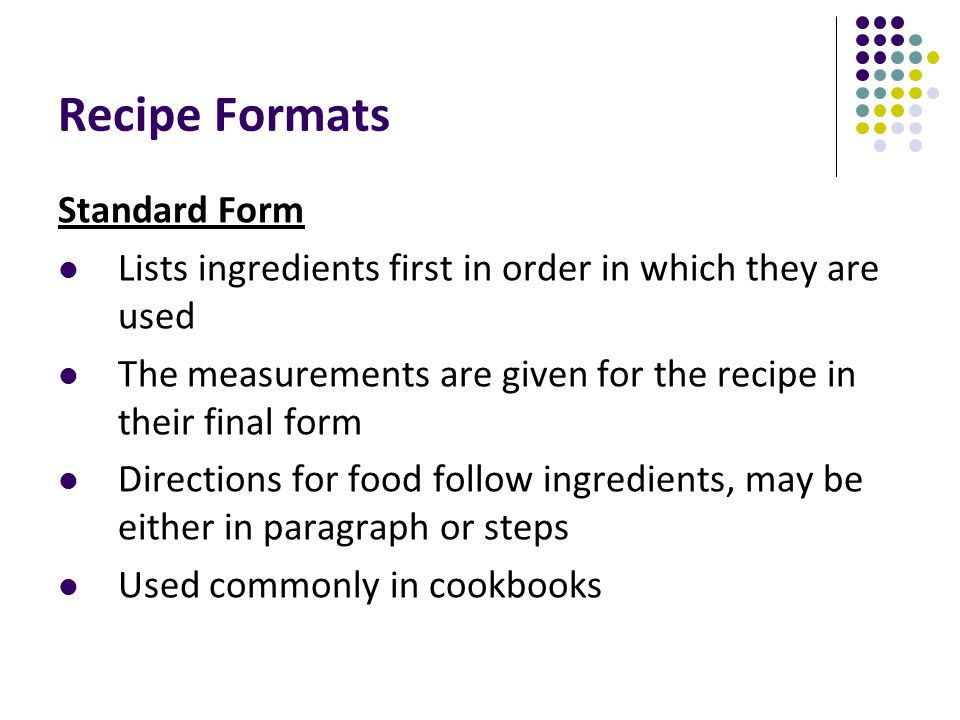 Measuring Techniques & Recipe Formats - ppt video online download