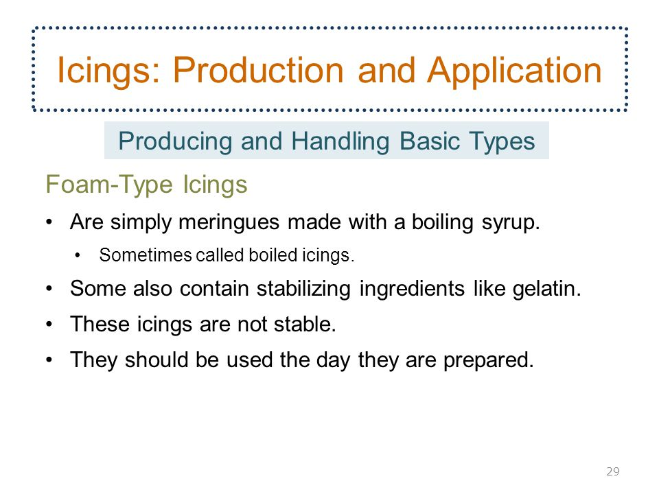 Icings: Production and Application