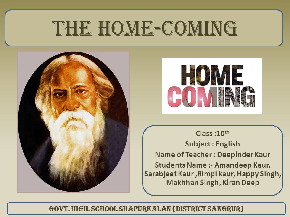 The home-coming Class :10th Subject : English
