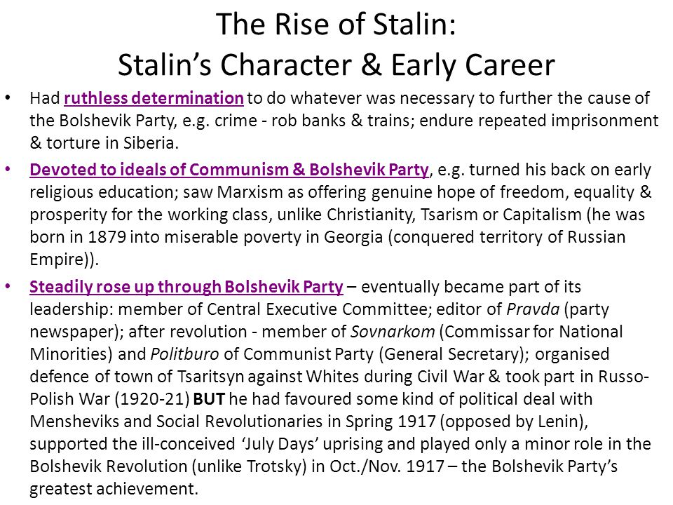 The Rise of Stalin: Stalin's Character & Early Career