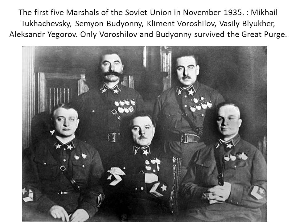 The first five Marshals of the Soviet Union in November 1935