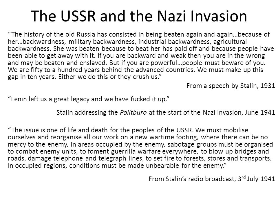 The USSR and the Nazi Invasion