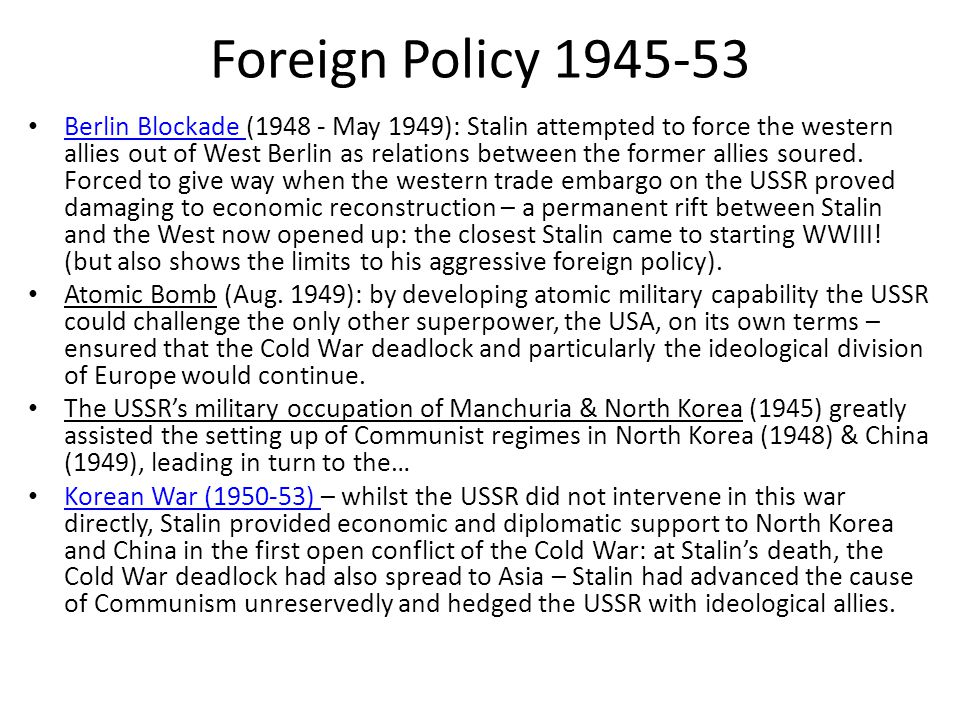 Foreign Policy 1945-53