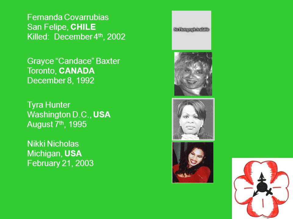 Fernanda Covarrubias San Felipe, CHILE Killed: December 4th, 2002