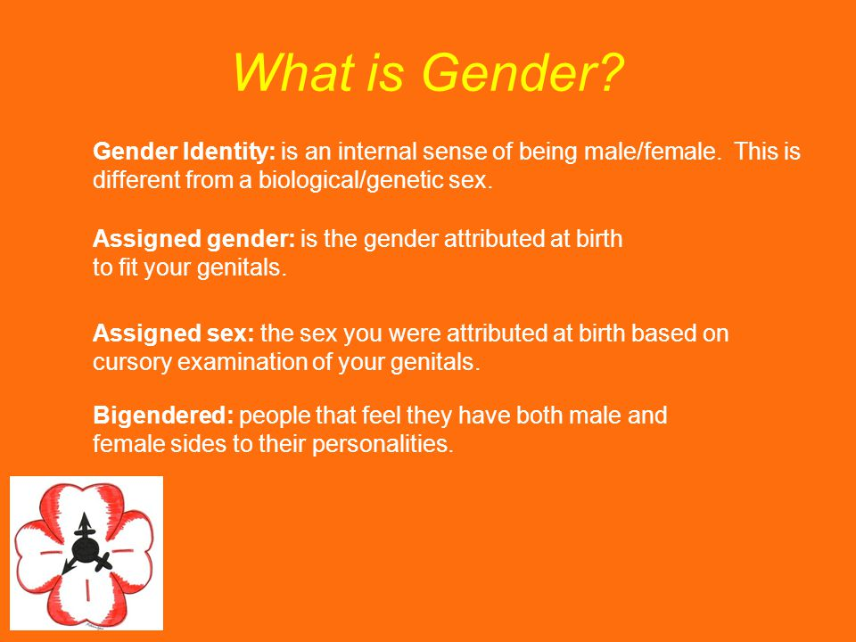 What is Gender Gender Identity: is an internal sense of being male/female. This is different from a biological/genetic sex.