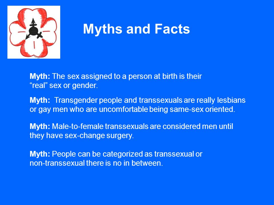 Myths and Facts Myth: The sex assigned to a person at birth is their real sex or gender.