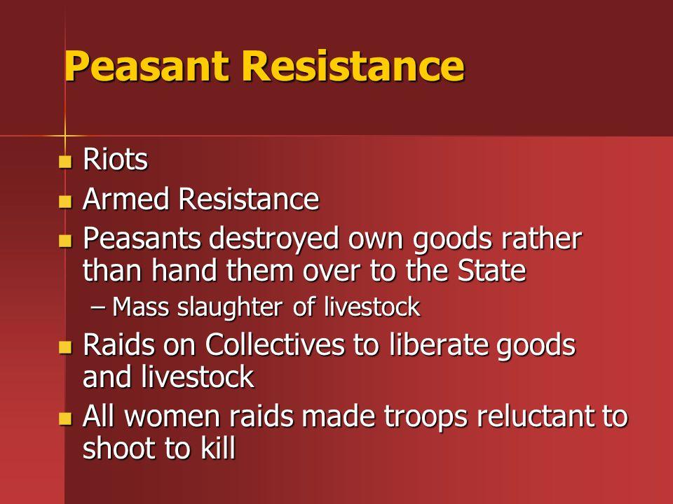 Peasant Resistance Riots Armed Resistance