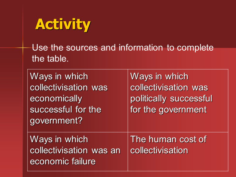 Activity Use the sources and information to complete the table.