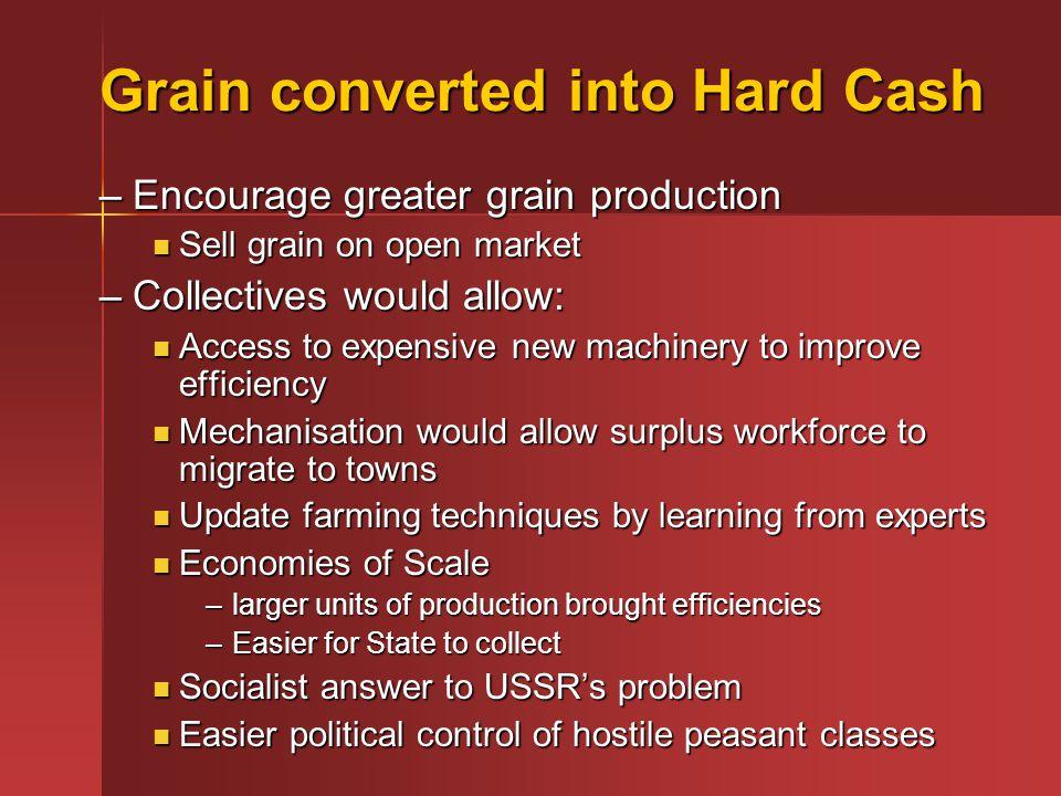 Grain converted into Hard Cash