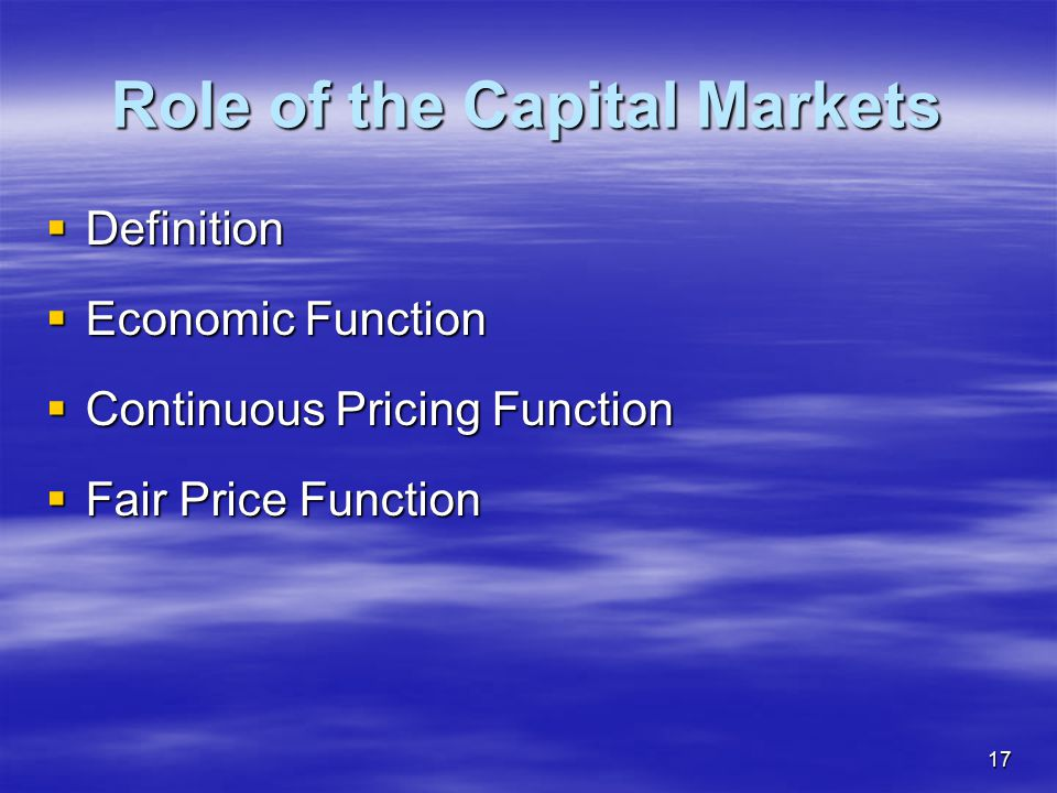 Role of the Capital Markets
