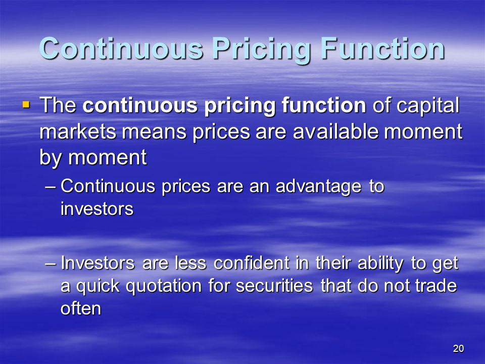 Continuous Pricing Function