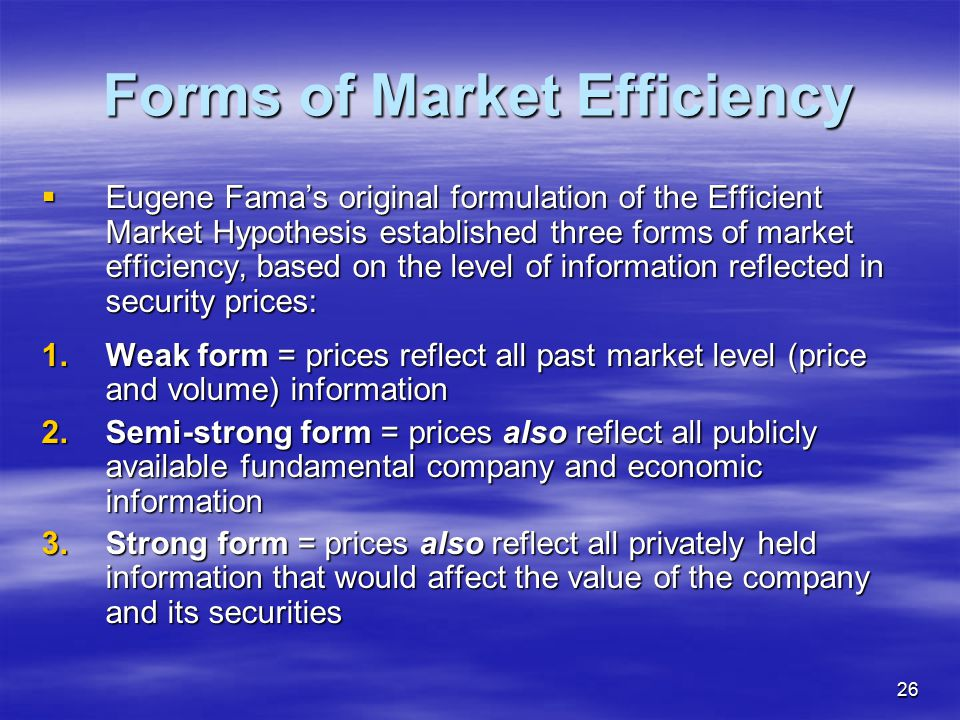 Forms of Market Efficiency