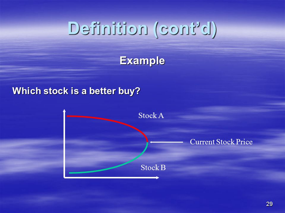 Definition (cont'd) Example Which stock is a better buy Stock A
