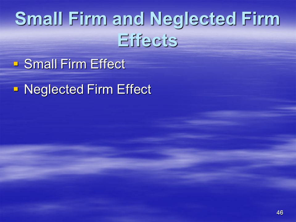 Small Firm and Neglected Firm Effects