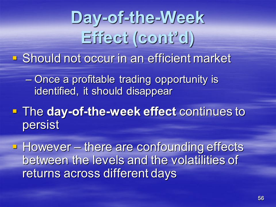 Day-of-the-Week Effect (cont'd)