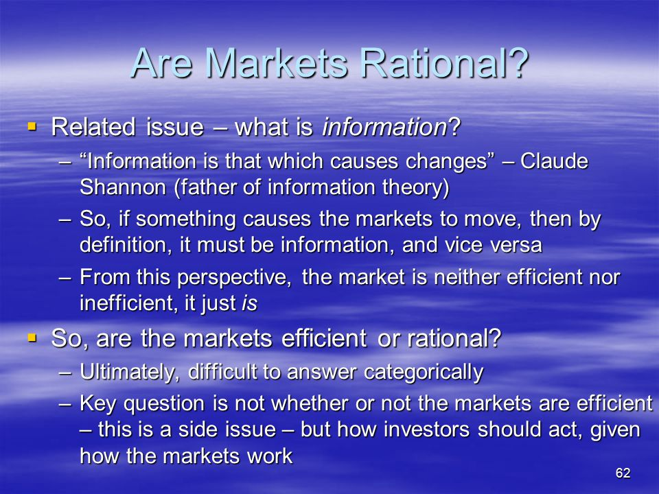 Are Markets Rational Related issue – what is information