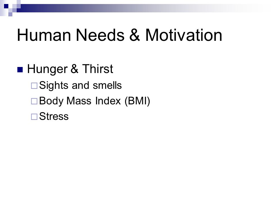Human Needs & Motivation