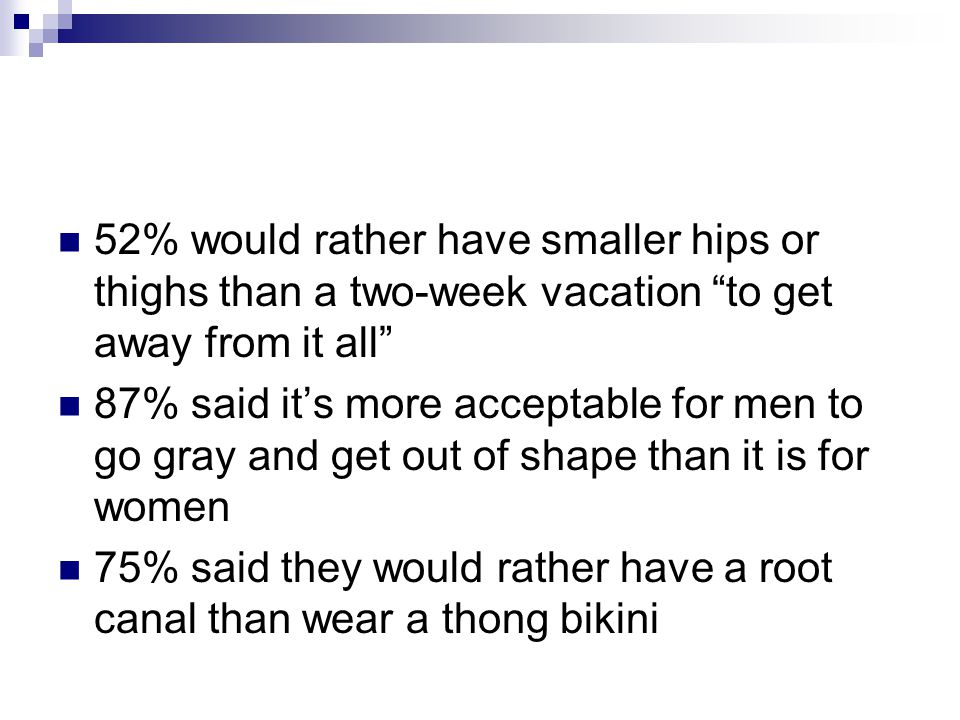 52% would rather have smaller hips or thighs than a two-week vacation to get away from it all