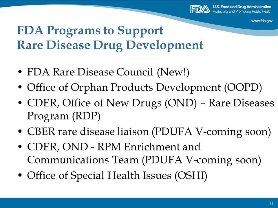 FDA Programs to Support Rare Disease Drug Development