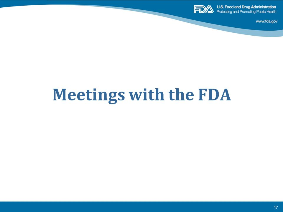 Meetings with the FDA
