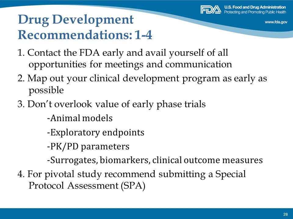 Drug Development Recommendations: 1-4