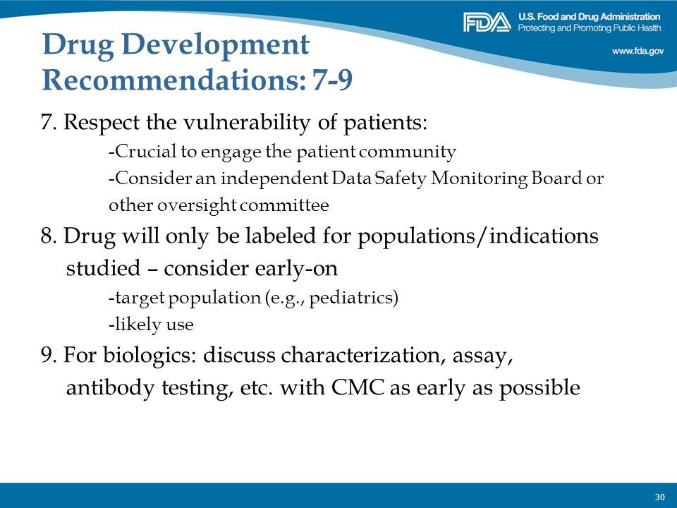 Drug Development Recommendations: 7-9