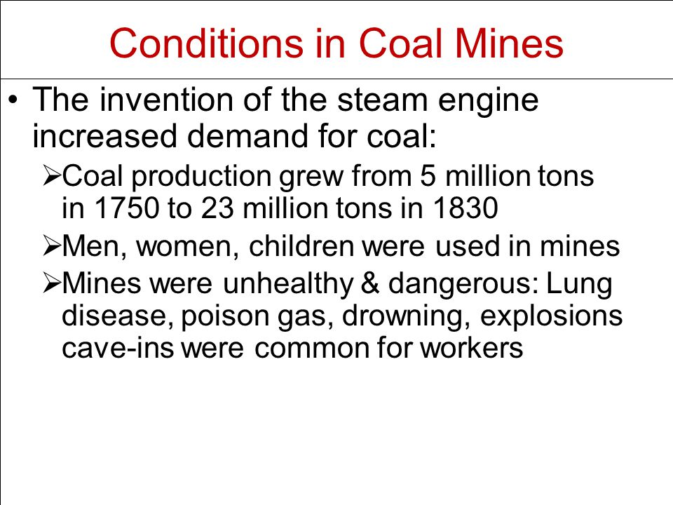 Conditions in Coal Mines