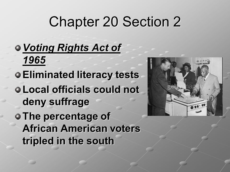 Chapter 20 Section 2 Voting Rights Act of 1965