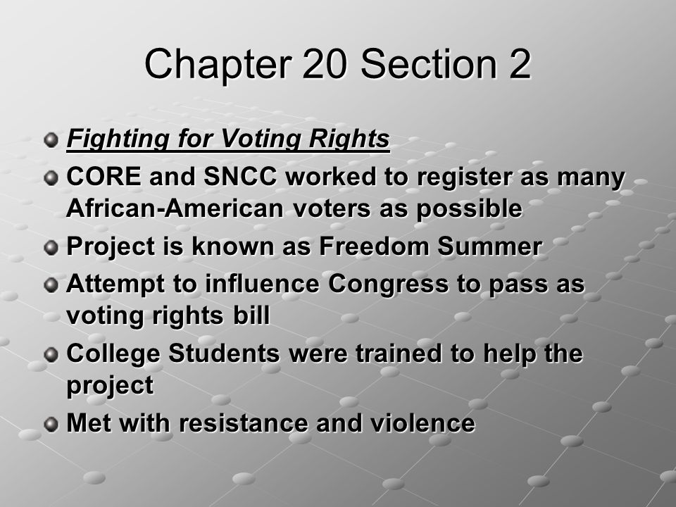 Chapter 20 Section 2 Fighting for Voting Rights