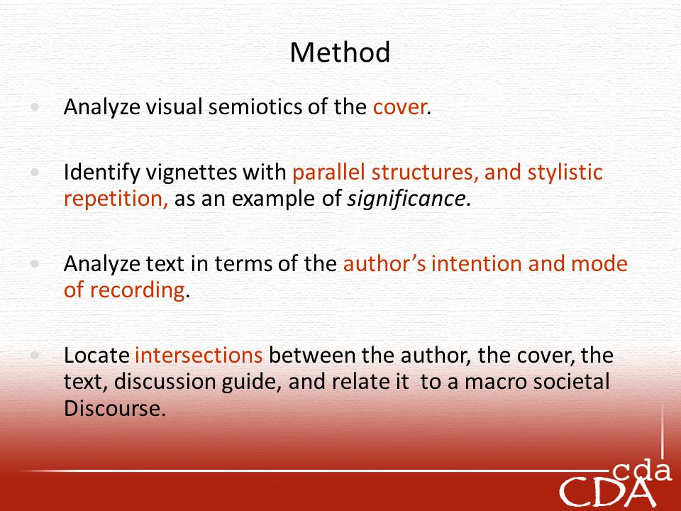Method Analyze visual semiotics of the cover.