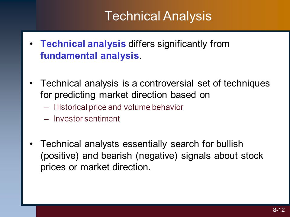 Technical Analysis Technical analysis differs significantly from fundamental analysis.
