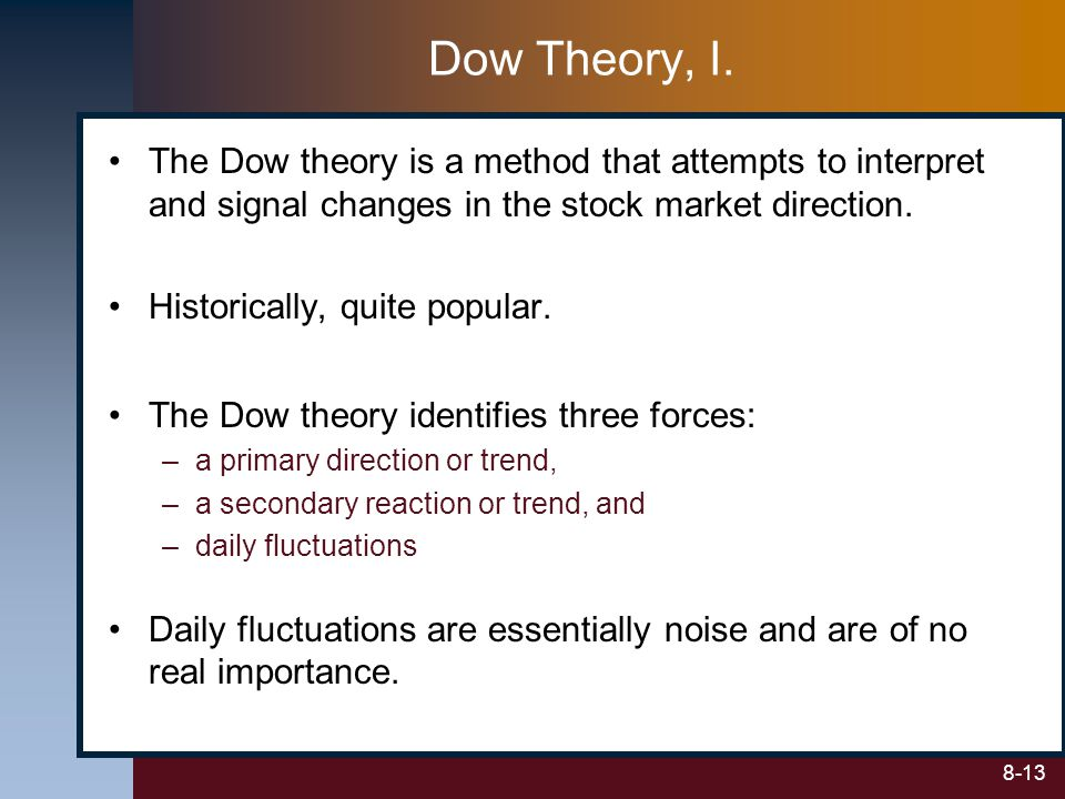 Dow Theory, I. The Dow theory is a method that attempts to interpret and signal changes in the stock market direction.