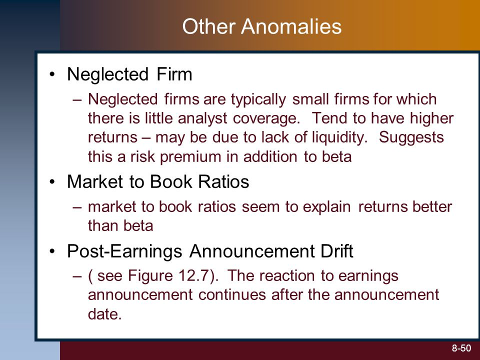 Other Anomalies Neglected Firm Market to Book Ratios