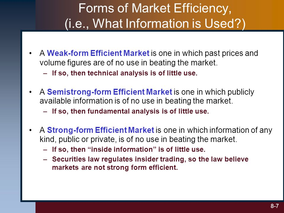 Forms of Market Efficiency, (i.e., What Information is Used )