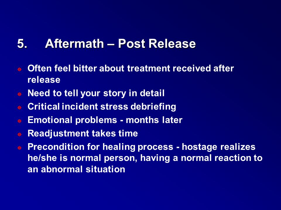 5. Aftermath – Post Release