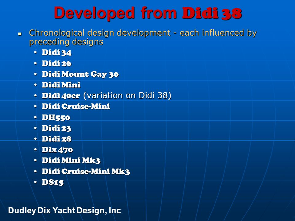 Developed from Didi 38 Chronological design development - each influenced by preceding designs. Didi 34.