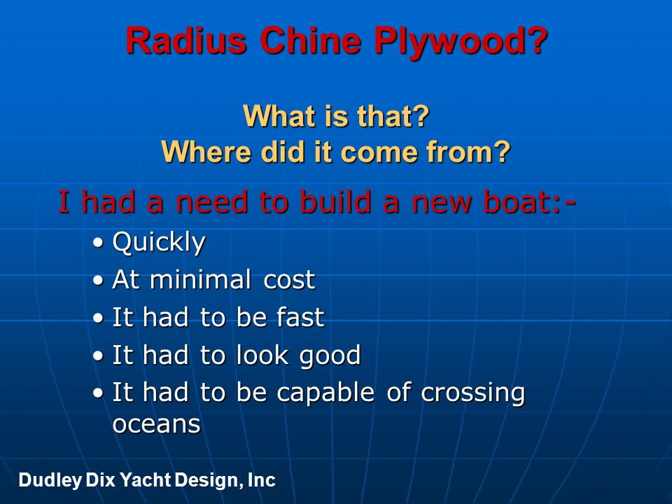 Radius Chine Plywood What is that Where did it come from